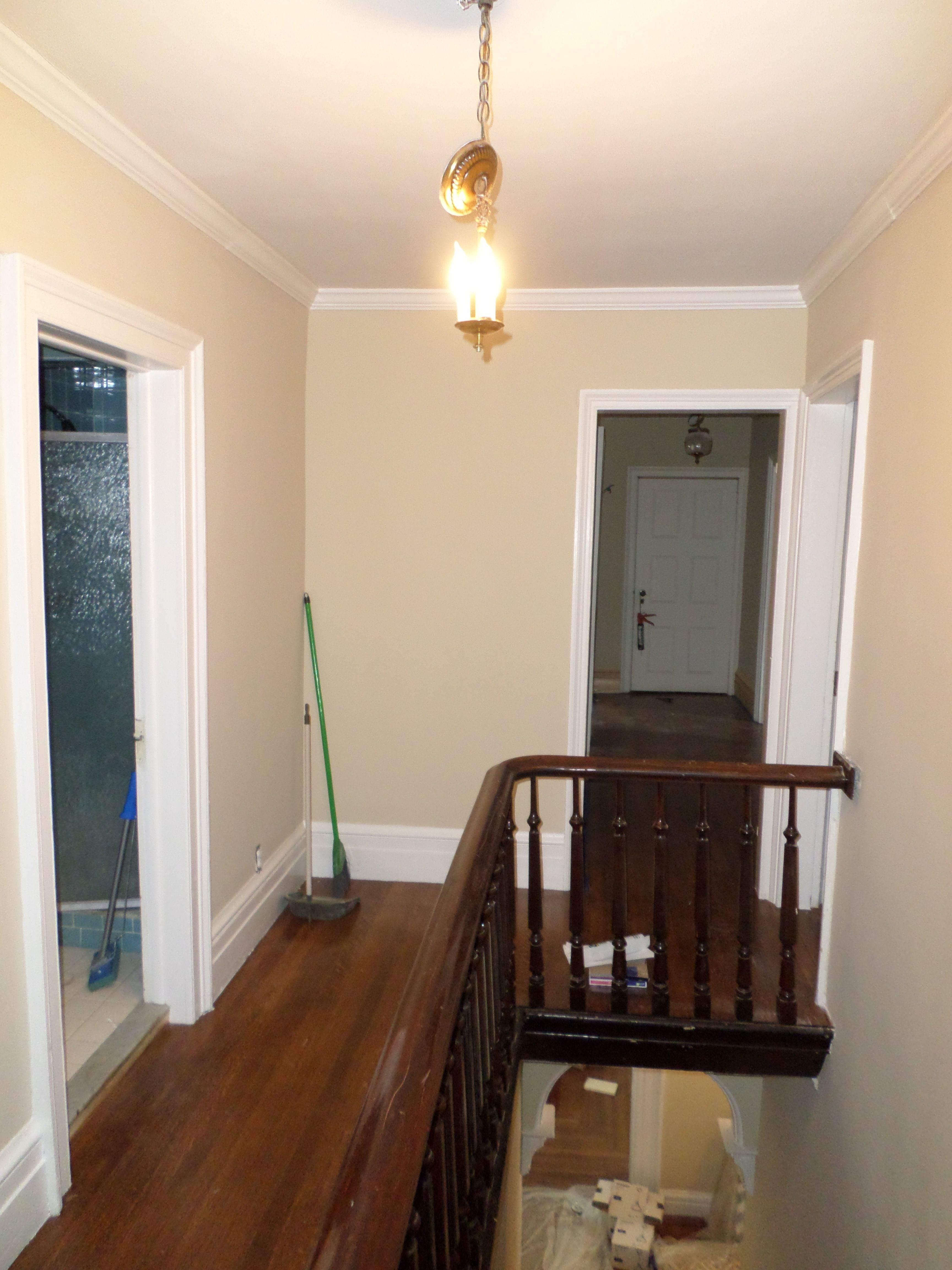 Upstairs Hall Newly Painted Benjamin Moore Carrington Beige.