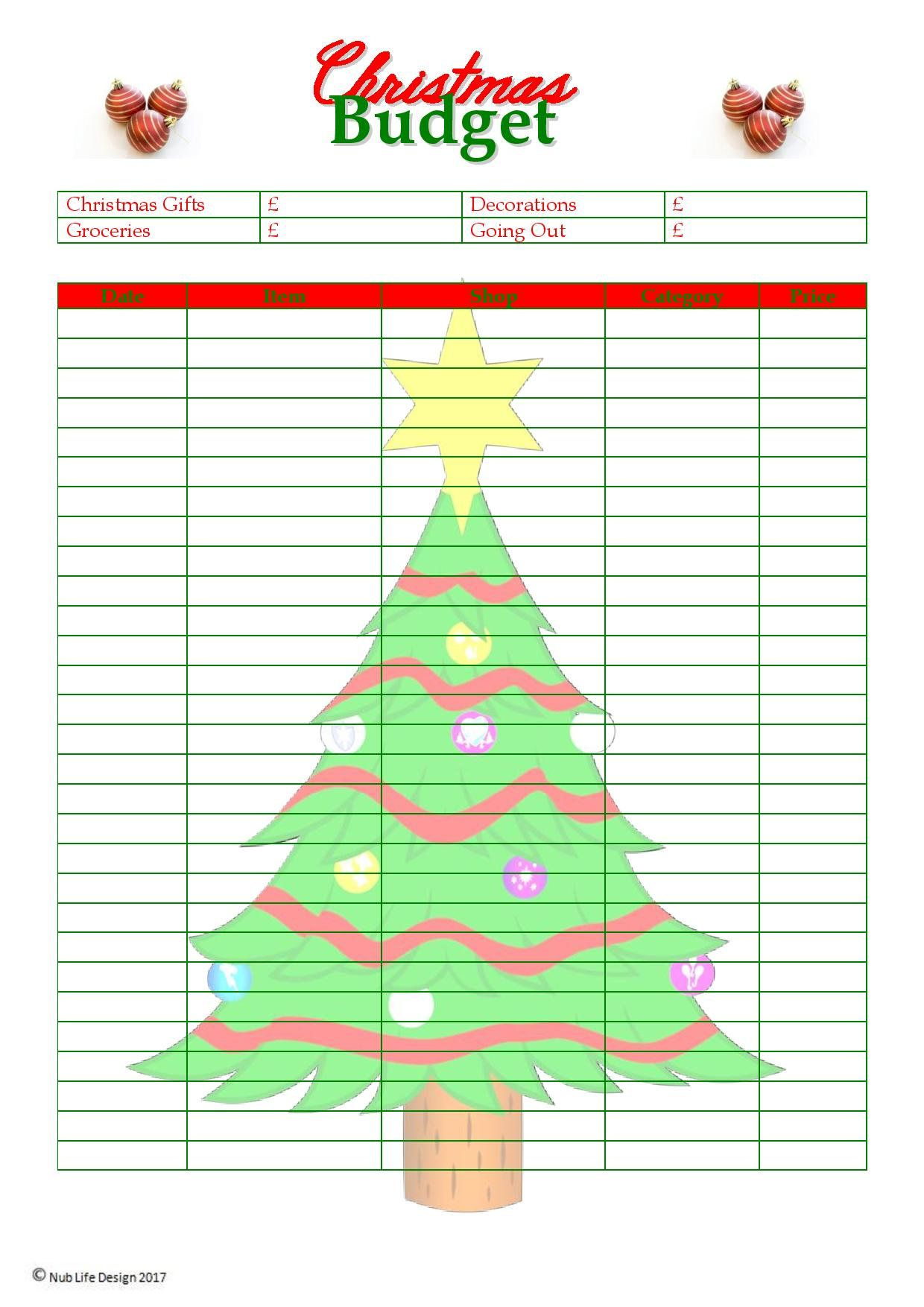 christmas budget planner printable by nublifedesign on etsy