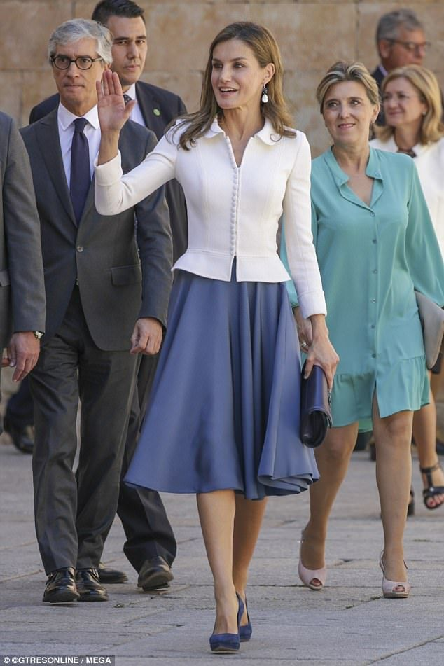Queen Letizia Looks Elegant In Fitted White Jacket And Blue Midi