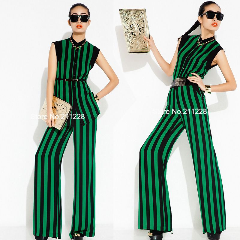 2-pieces-suit-2013-spring-summer-women-s-casual-green-black-stripe ...