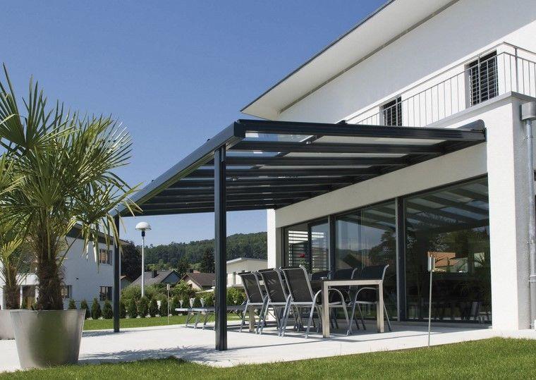 terraza aluminio cobertura vidrio pergola negra ideas - Pergola Aluminio