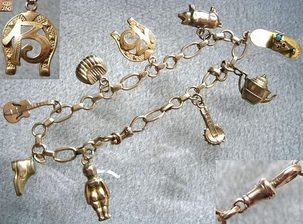 9ct Gold Charm Bracelet With Nine Charms Three One 18ct Italian C 1960 S The Horseshoe Style Is Stamped 750 Indicating
