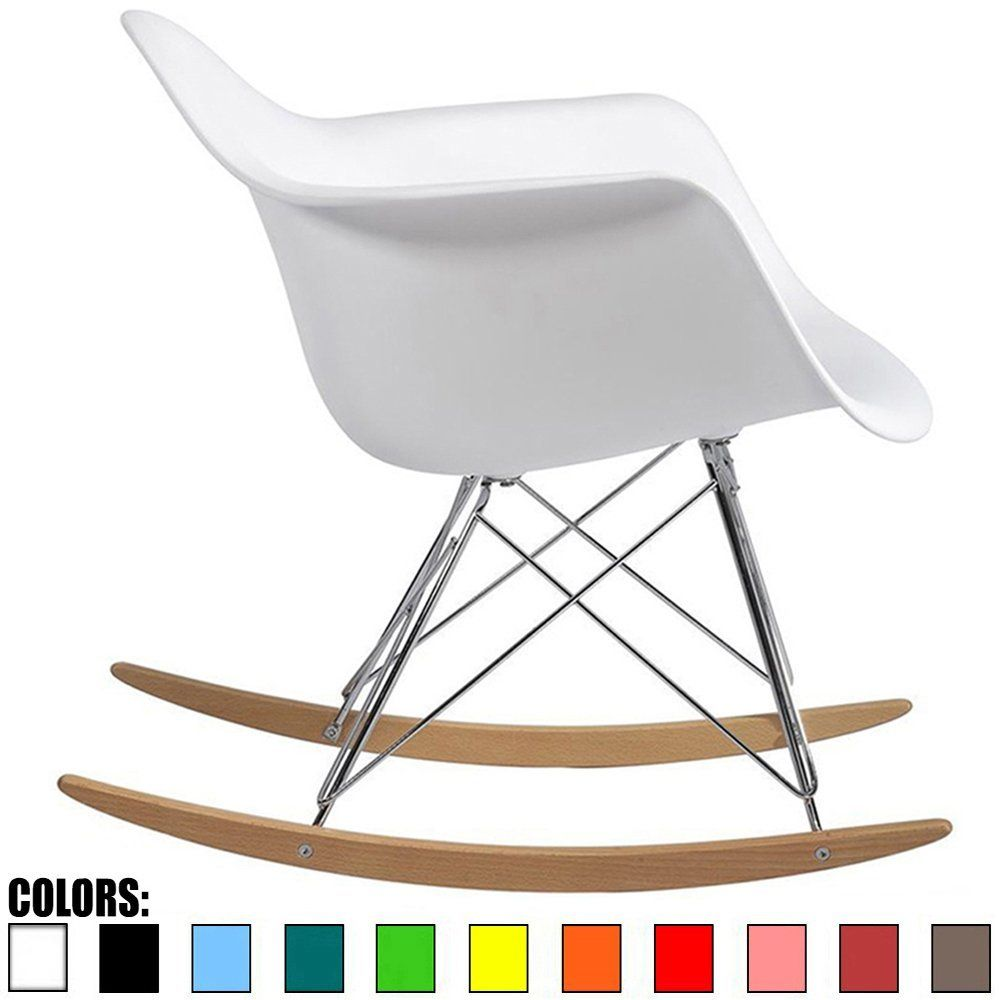2xhome White Eames Style Molded Modern Plastic Armchair