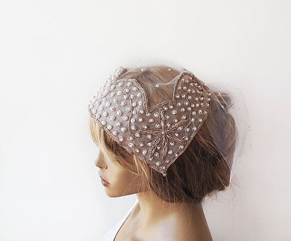 Bridal Headpiece, Pearl and Rhinestones, Wedding Hair Style, Bridal Veils, Wedding Veils, Vintage Wedding, Wedding Hair Accessories