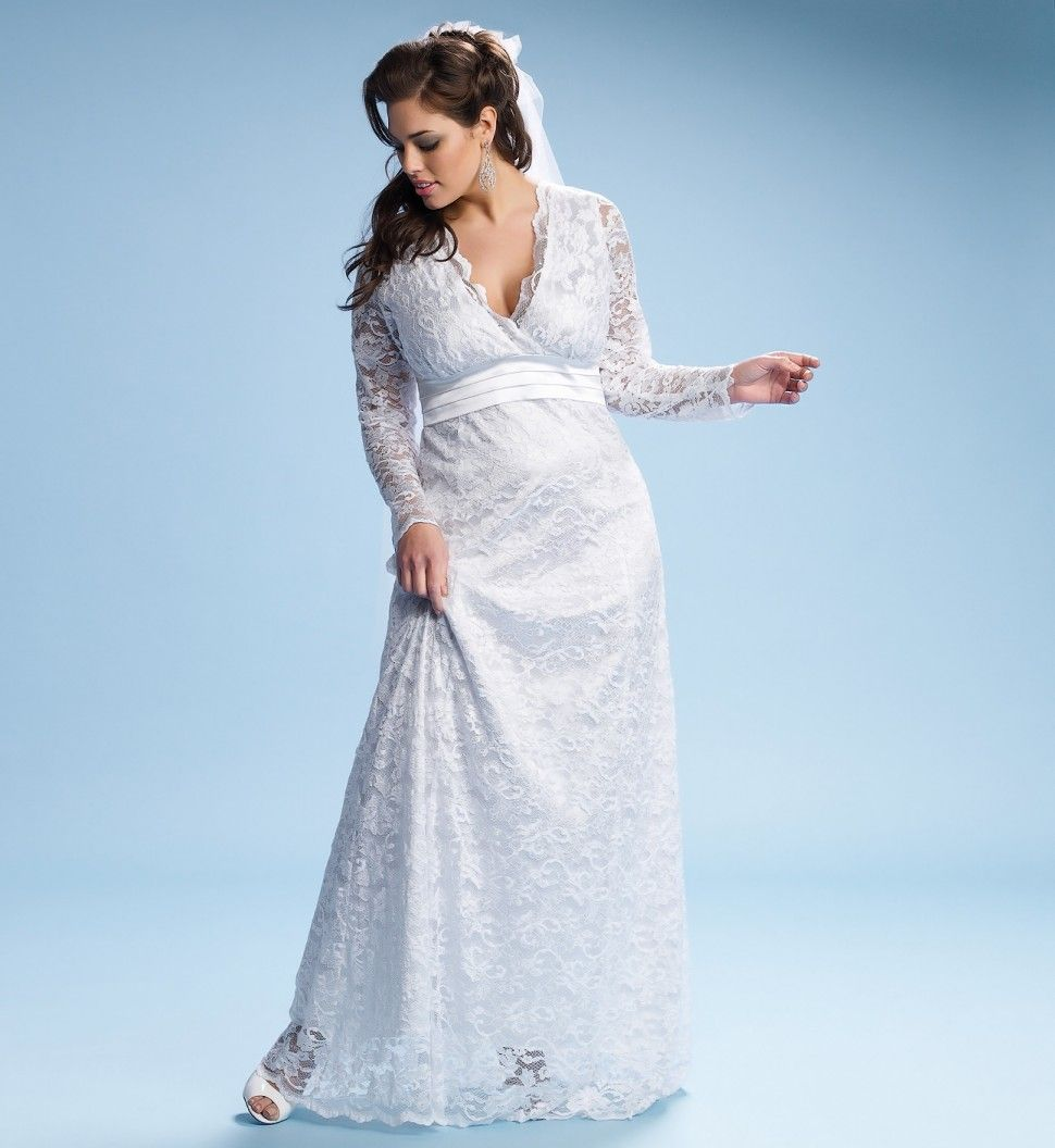 plus size wedding gownlong with empire waist and sleeves