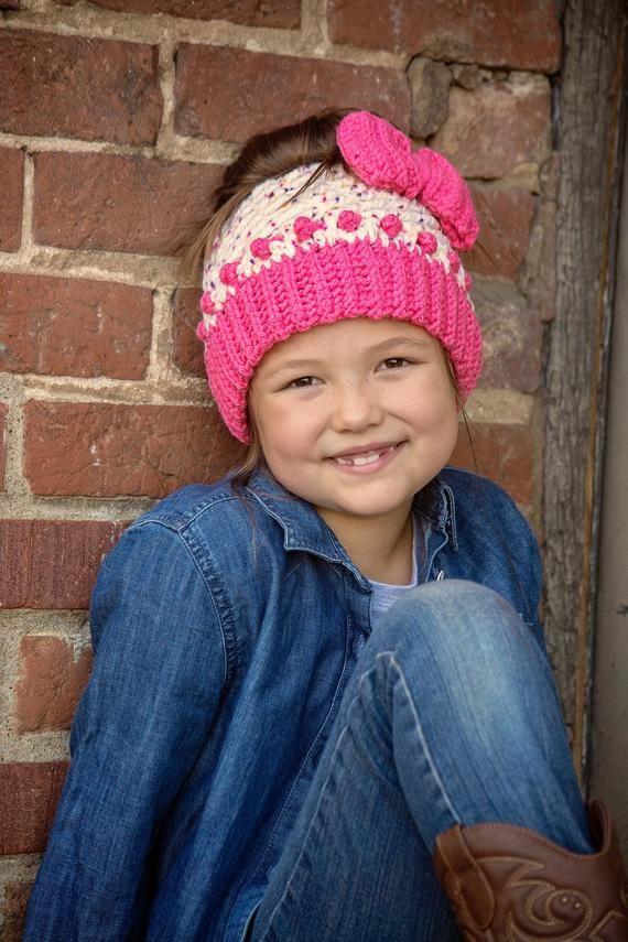 Cupcake Hat - Messy Bun Beanie Crochet Pattern - 2 Crochet Options Regular Closed Hat Or Messy Bun H #kidsmessyhats
