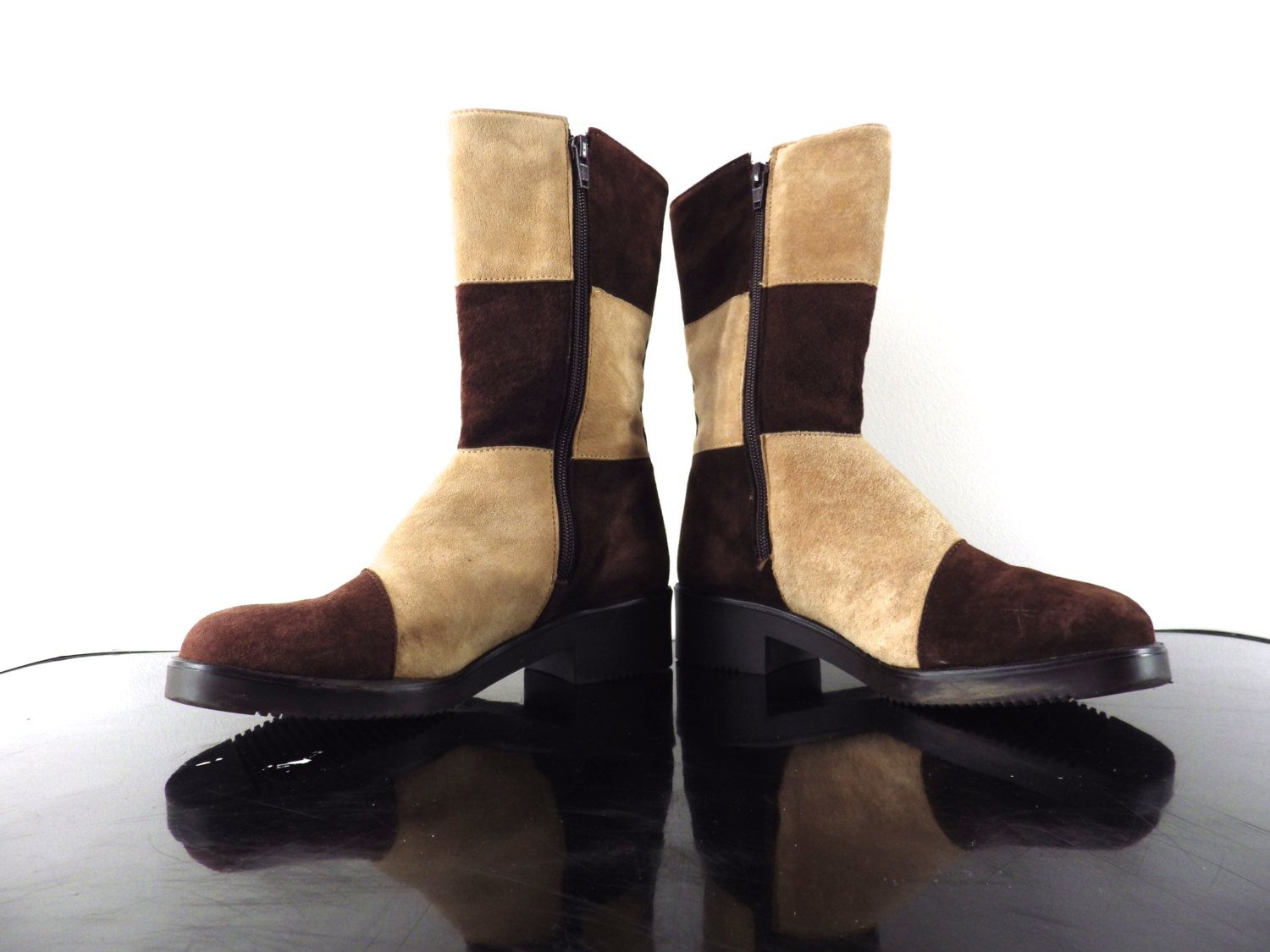 70s Suede Patchwork Boho Boots Vintage Two Tone Brown