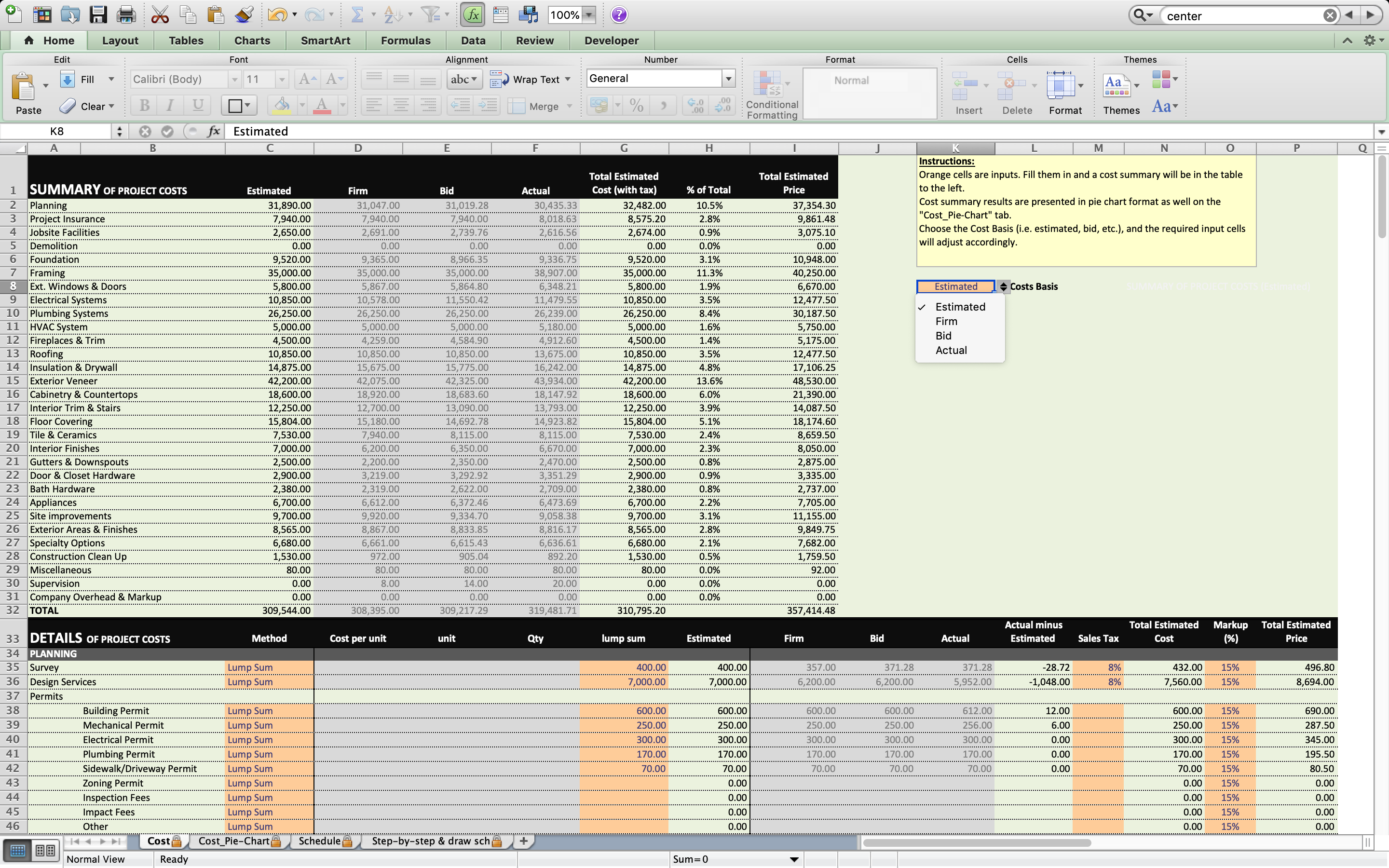 Home Building Excel Spreadsheet