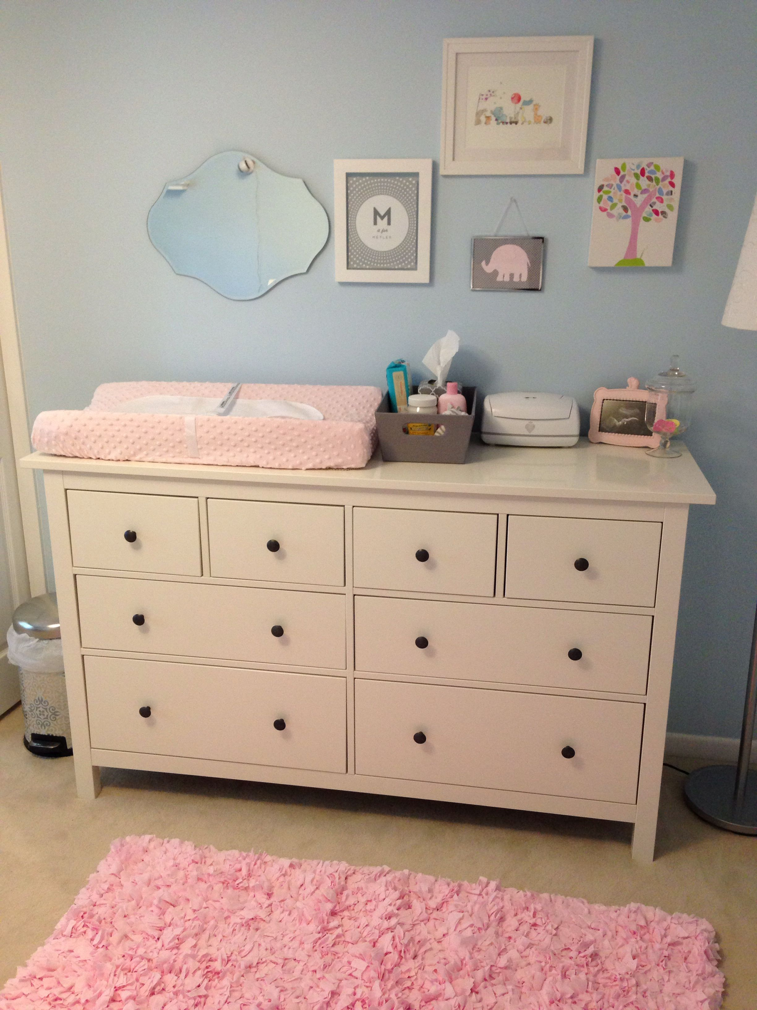 Light blue & pink nursery with ikea dresser as changing table! | to ...