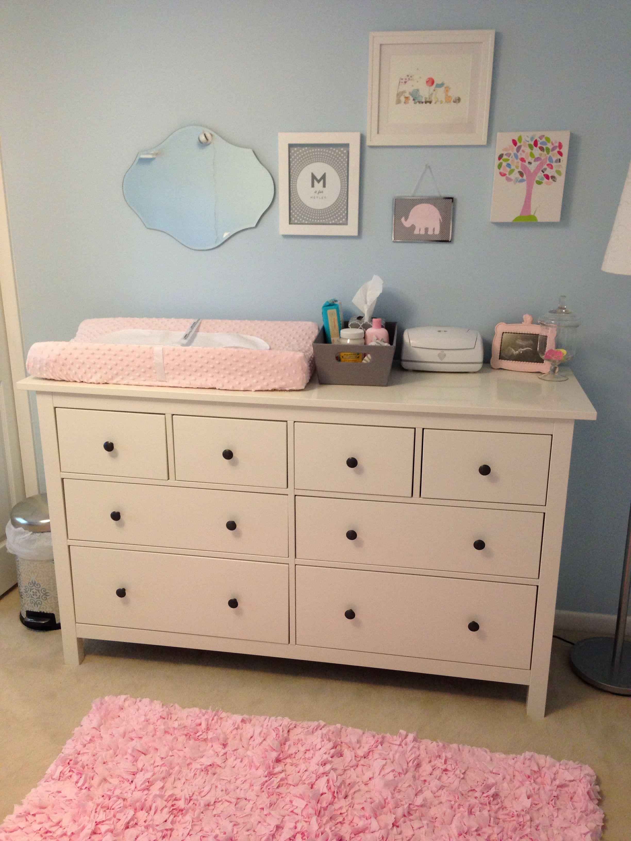 Light Blue Pink Nursery With Ikea Dresser As Changing Table Changing Table Dresser Baby Changing Tables Changing Table