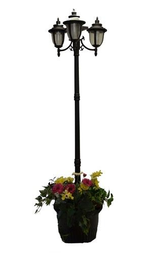 7 Ft 85 In Tall Solar Lamp Post And Planter 3 Heads White Amber Leds Black Solar Lamp Post Lamp Post Solar Lamp