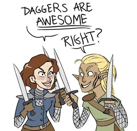 Dragon age. Basically my character and Zev. We're the dual-weapon duo. XD