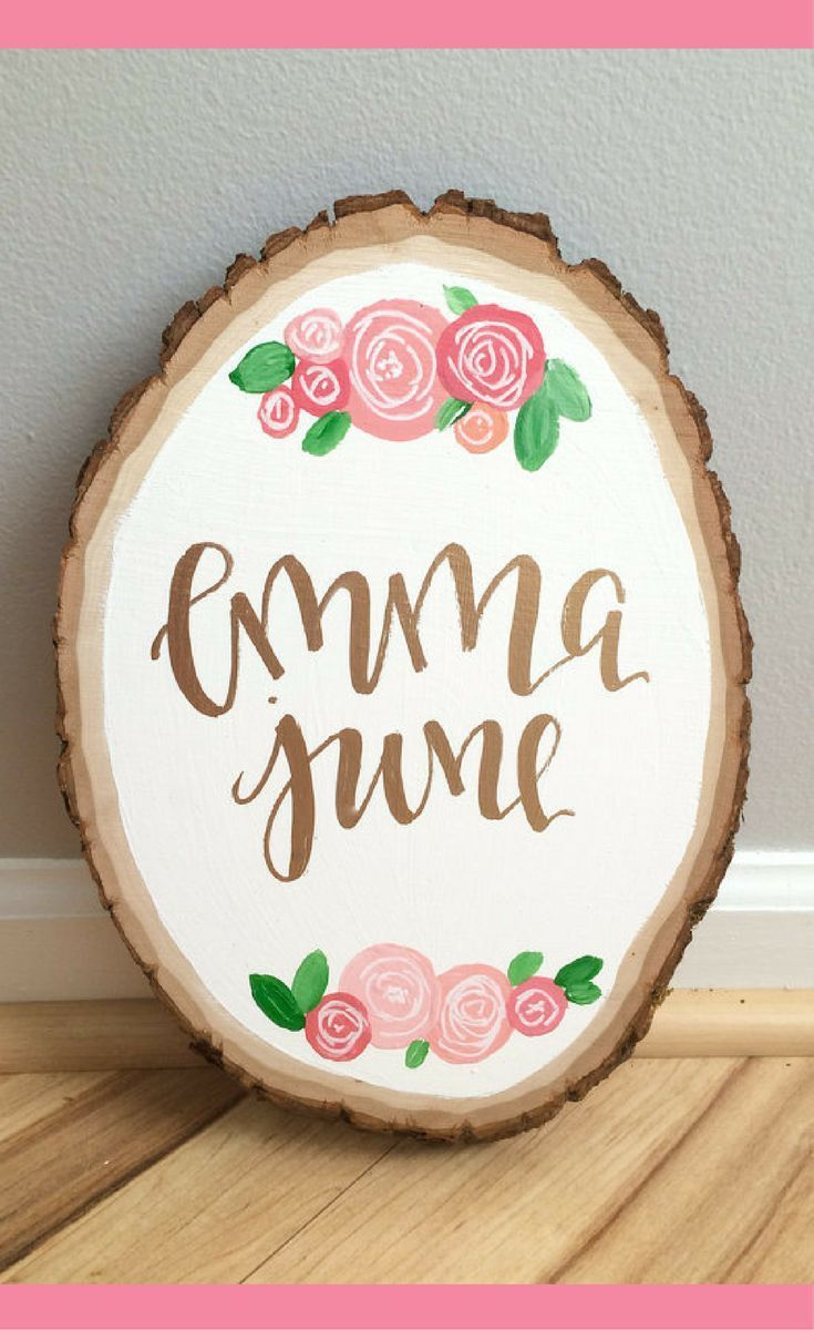 Custom baby name wood slicefloral wood slice calligraphy name