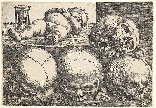 Barthel Beham  (German, ca. 1502–1540). Dead Child with Four Skulls, mid 17th century. The Metropolitan Museum of Art, New York. Harris Brisbane Dick Fund, 1932 (32.65.16)  #skulls #Halloween