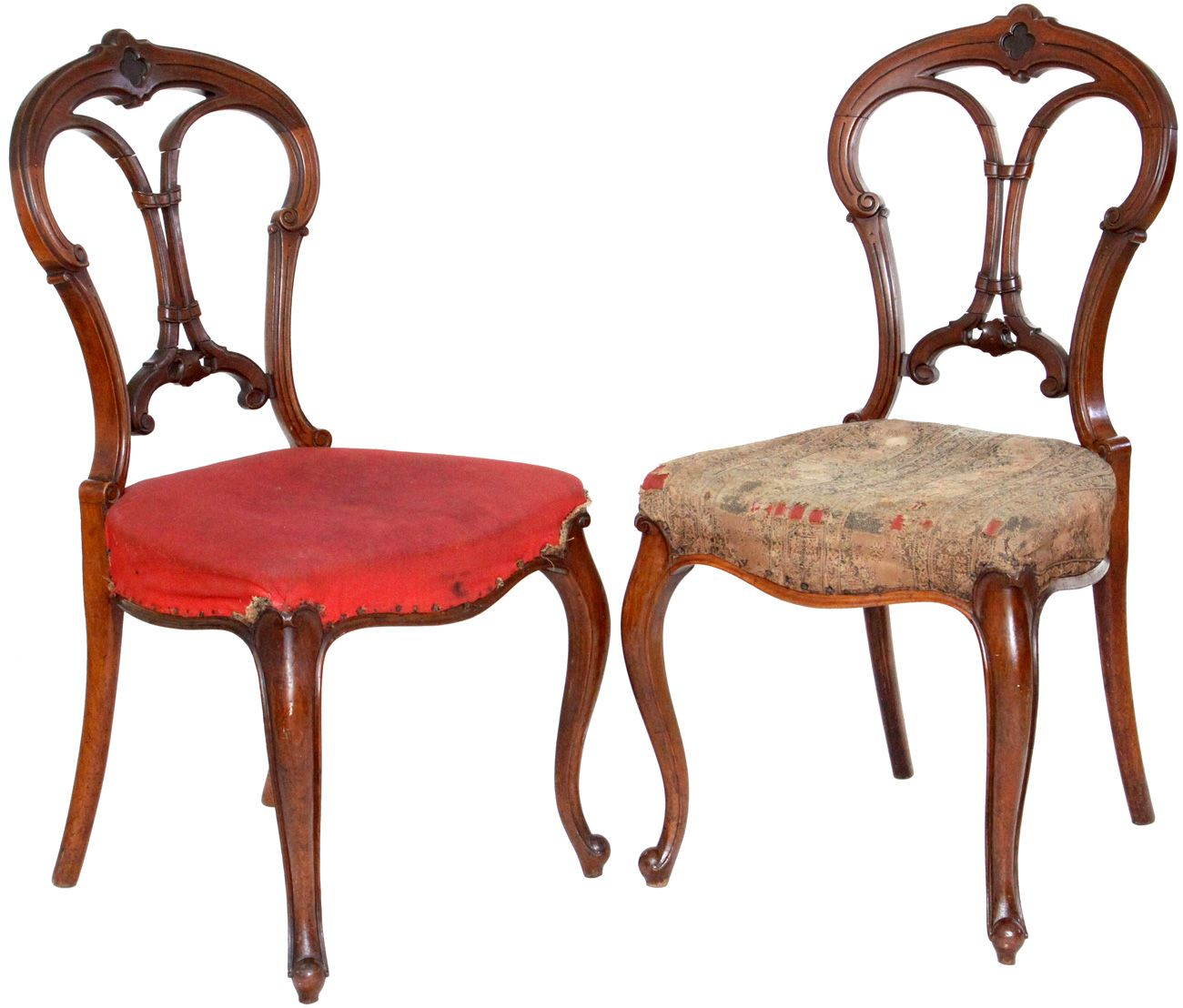 Antique Furniture | Pair Of Antique Victorian Balloon Back Chairs With  Carved Back .