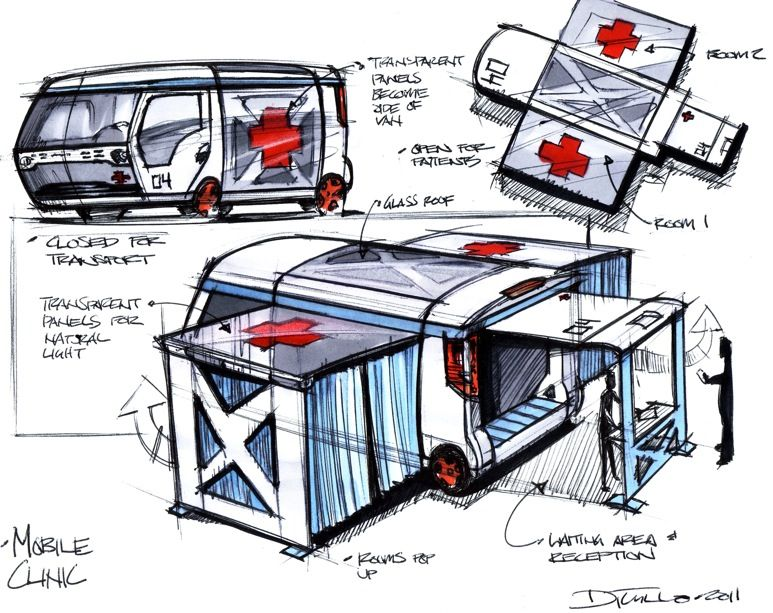 mobile clinic Transportation, Sketch design, Clinic