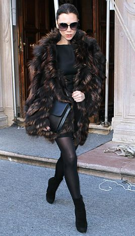 Victoria Beckham's Posh Pregnancy  February 13, 2011 Beckham kept warm in a Fendi fur jacket and Christian Louboutin shoes in NYC.