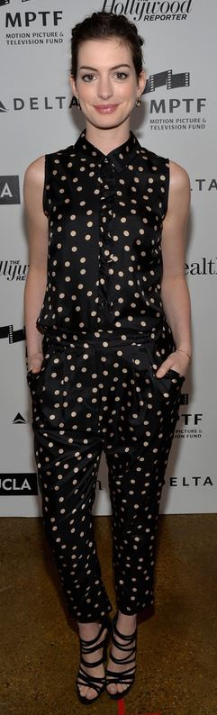 Who made Anne Hathaway's polka dot button down top, white print pants, and sandals that she wore in Hollywood?