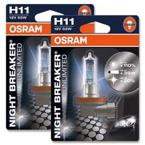 H11 Osram Night Breaker Unlimited 110 12v 55w Halogen Bulbs Pair Headlight Bulbs Bulb Night