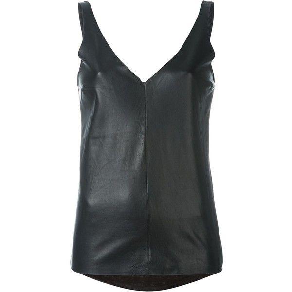 Majestic Filatures Sleeveless Top ($192) ❤ liked on Polyvore featuring tops, black, sleeveless tops, sleeveless tank tops, leather tank top, majestic filatures and sleeveless tank