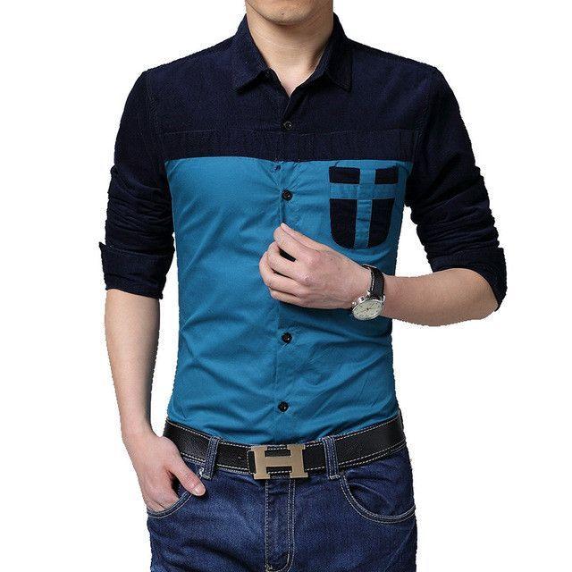 2017 New Arrival Brand Patchwork Men Shirt Fashion Slim Fit Dress ...