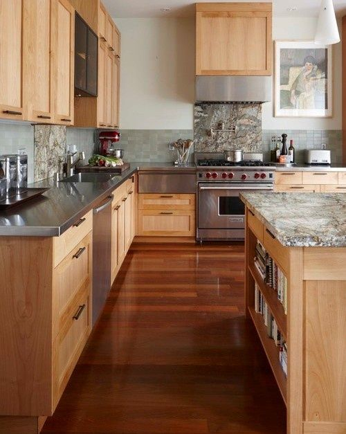 Maple Cabinets With Blue Green Tile Backsplash And Gray Well Stainless Steel Countertops Eclectic Kitchen Maple Kitchen Cabinets Wood Kitchen