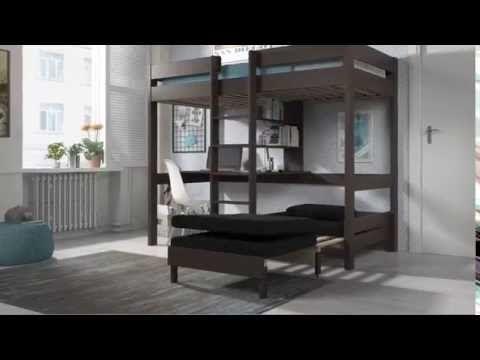 Hoogslaper met bureau en zetel: hoogslaper bureau met zetelbed pino