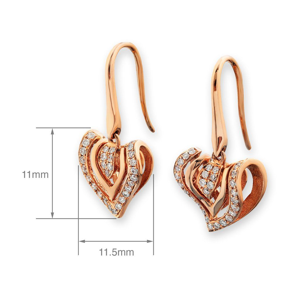 AmazonSmile: 18K Rose Gold 3-dimensional Heart Diamond Dangling Earring (0.23ct, G-H Color, SI1-SI2 Clarity): Jewelry