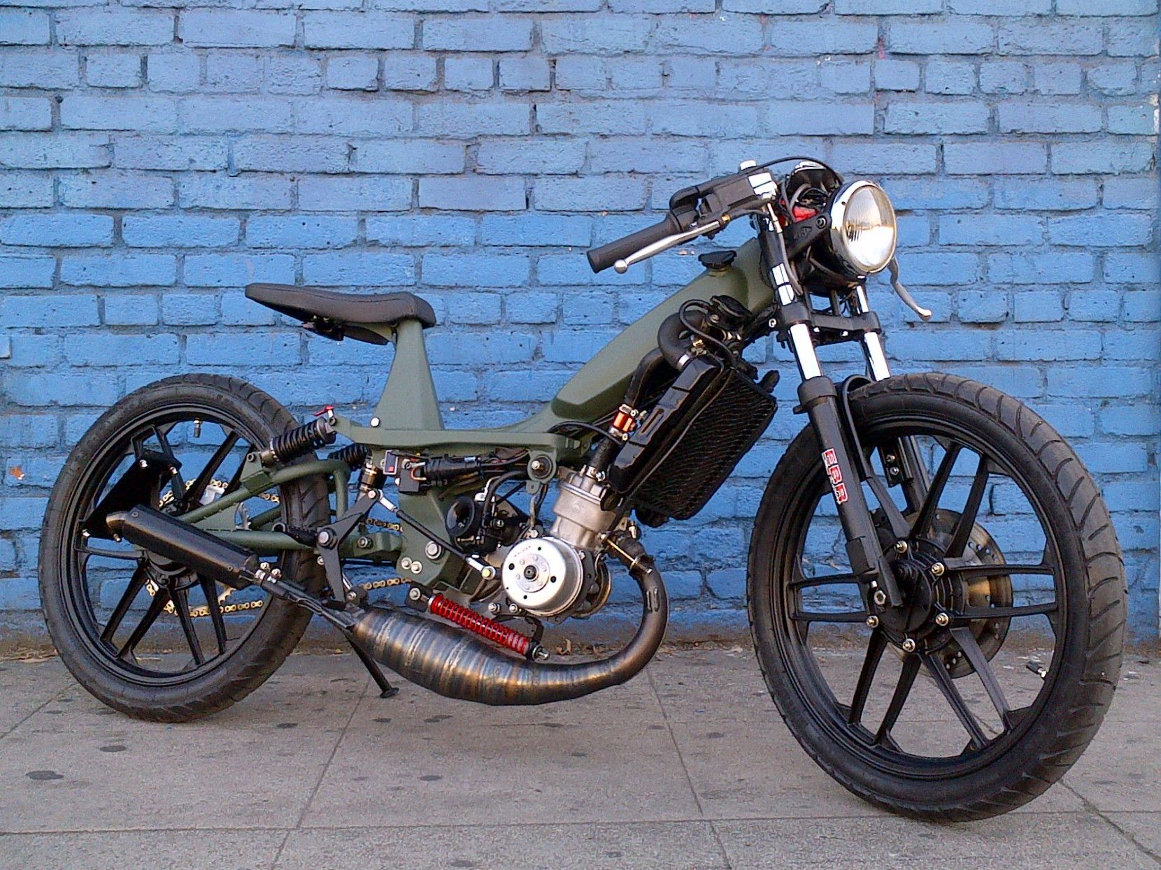 Mbk 51 MG Street Fighter Custom moped, 50cc moped, Moped