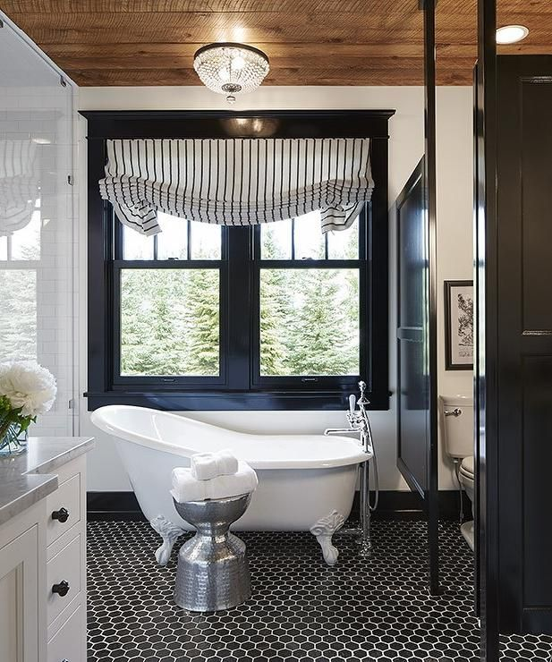 The Window Trim And Bathroom Partition Paint Color Is Benjamin Moore Black  In A High Gloss Finish. Martha Ou0027Hara Interiors.
