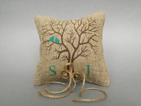 Hochzeit rustikale natürlichen Leinen Ring Bearer Kissen grün Vögel auf braun Baum und Leinen Seil