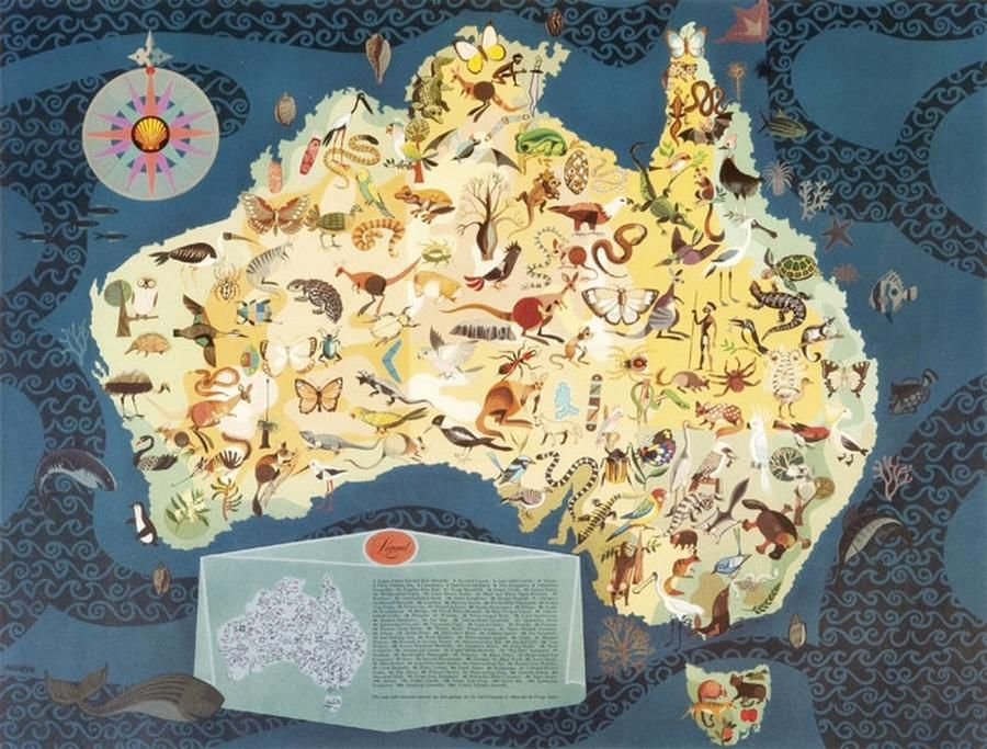 1950s poster map of Australia decorated with