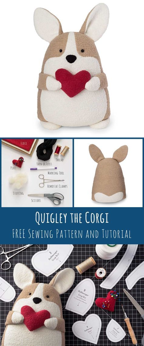 Quigley the Corgi Free Sewing Pattern and Tutorial #stuffedtoyspatterns