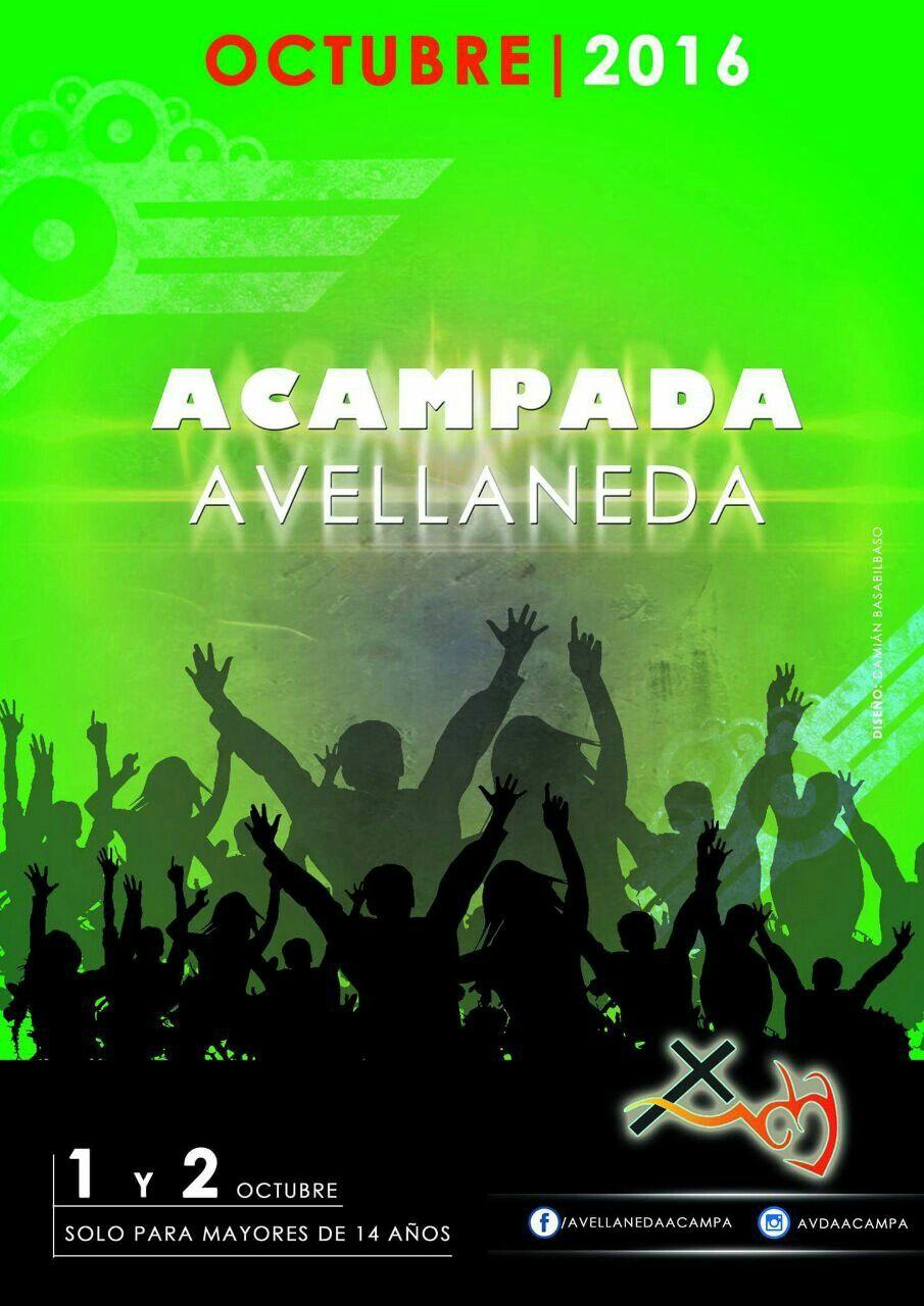 Publicidad de la primera acamapada de la ciudad de Avellaneda. Diseño: Damián Basabilbaso