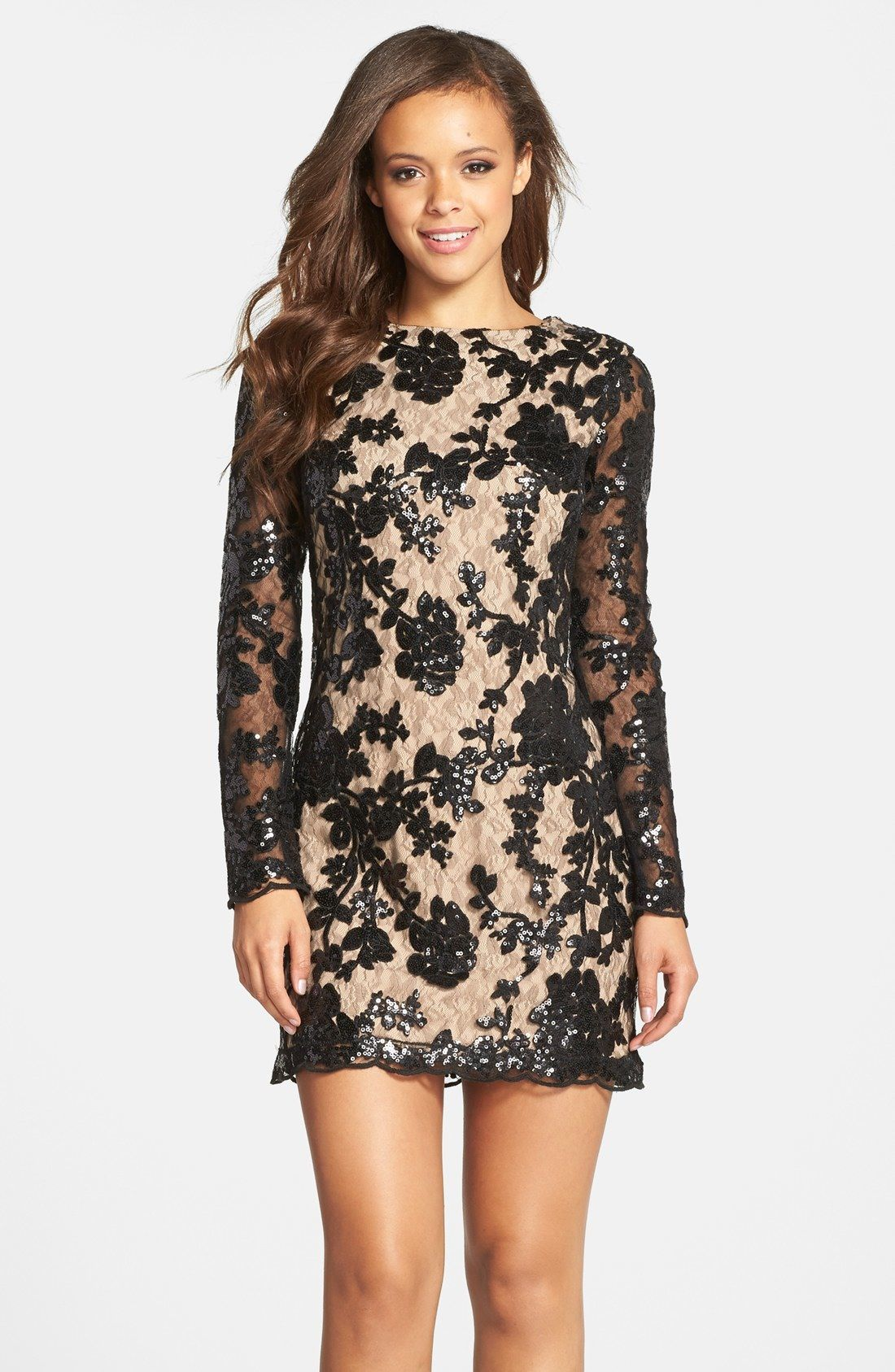 Dress The Population Grace Sequin Lace Long Sleeve Shift Dress