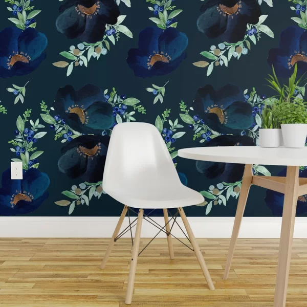 August Grove Wilker Floral Removable Peel And Stick Wallpaper Roll Wayfair Blue Floral Wallpaper Purple Wallpaper Wallpaper Roll