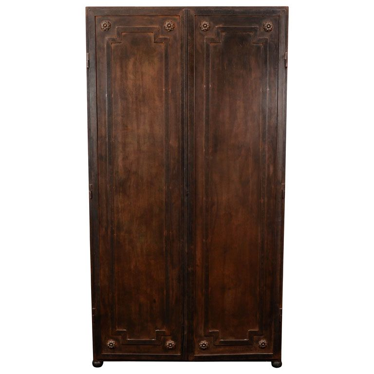 A Sleek Steel French Late 19th Century Cabinet | From a unique collection of antique and modern wardrobes and armoires at https://www.1stdibs.com/furniture/storage-case-pieces/wardrobes-armoires/