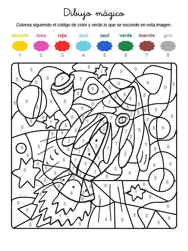 Dibujo mágico de un cohete: dibujo para colorear e imprimir ...