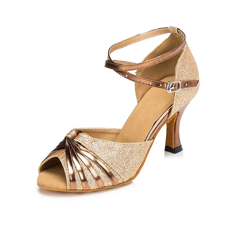 Misu Womens Peep Toe Sandals Latin Salsa Tango Practice Ballroom Dance Shoes with 2.7 Heel