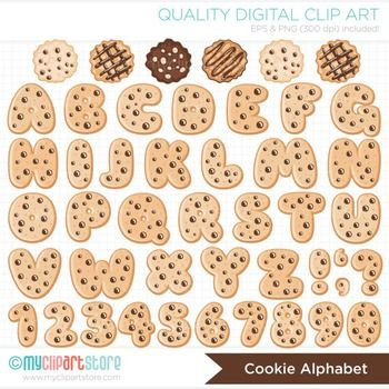 Alphabet Clipart Christmas Chocolate Chip Cookie Abc