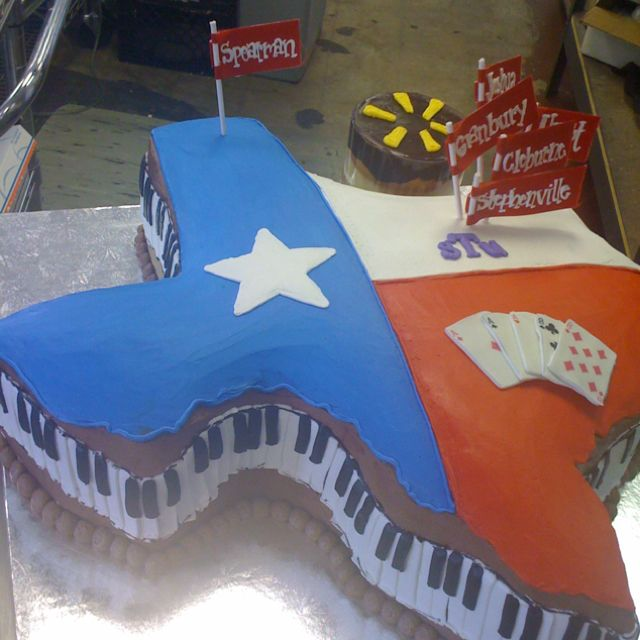 Texas grooms cake TYH: camo instead of piano keys, instead of decorations on top, dynamo, USA, uh
