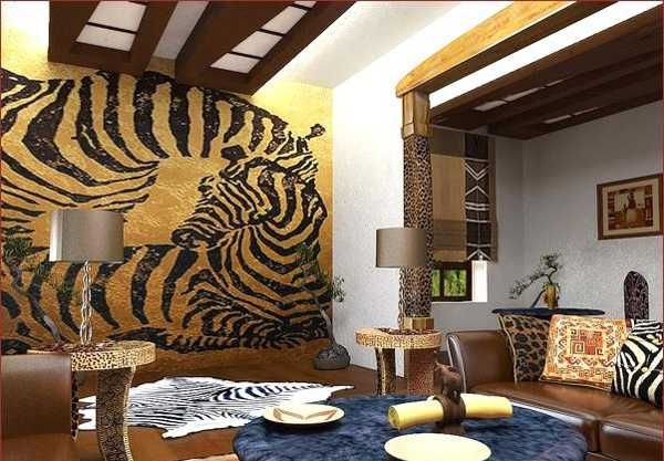 african style living room design. african print home decor  zebra floor rug and wlal decoration with animal