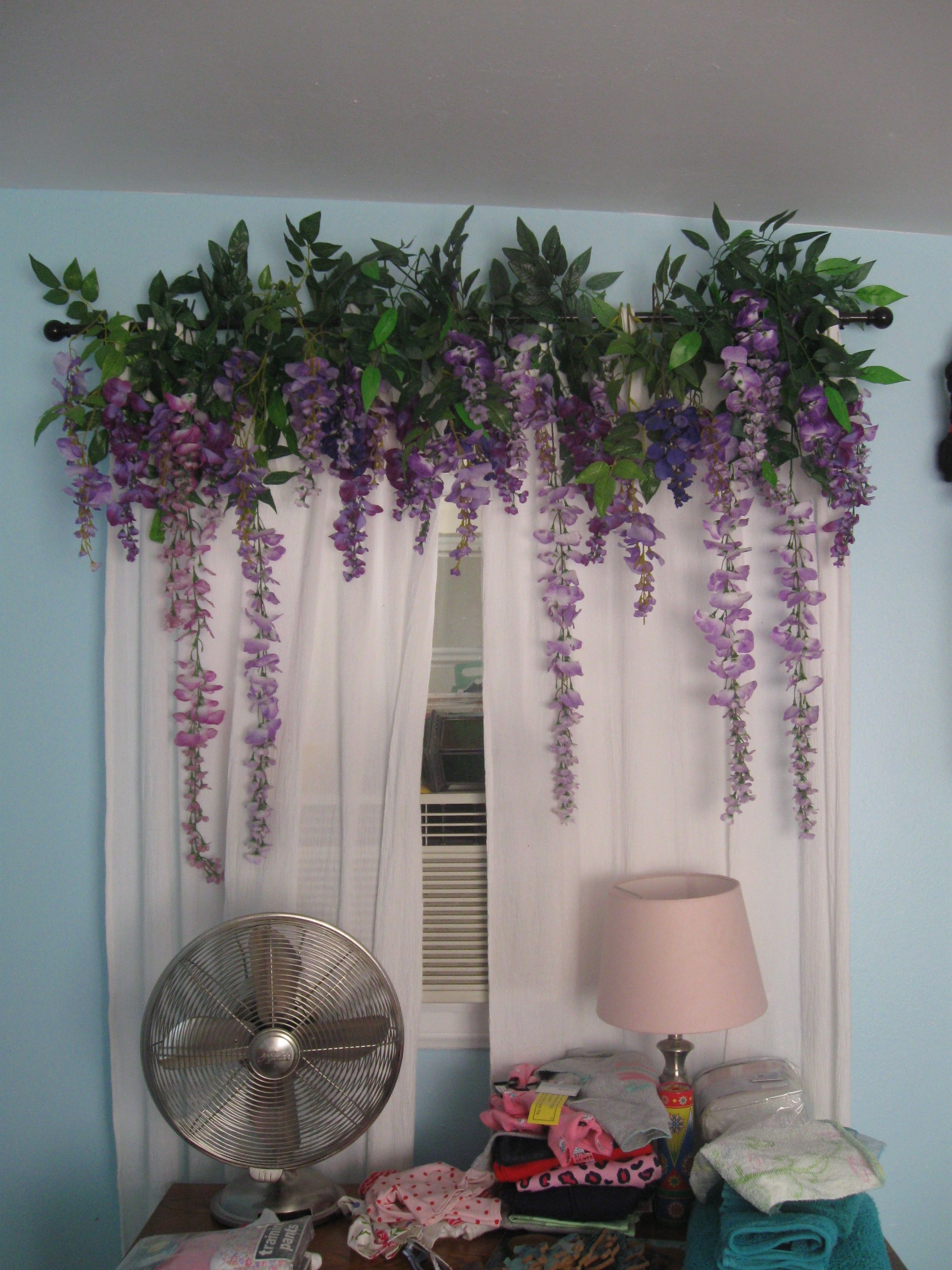 This Is The Wisteria Valance Over The Windows In The Neverland Bedroom The Stems Were Just Bent And Slipped Ove Flower Bedroom Flower Curtain Cozy Room Decor