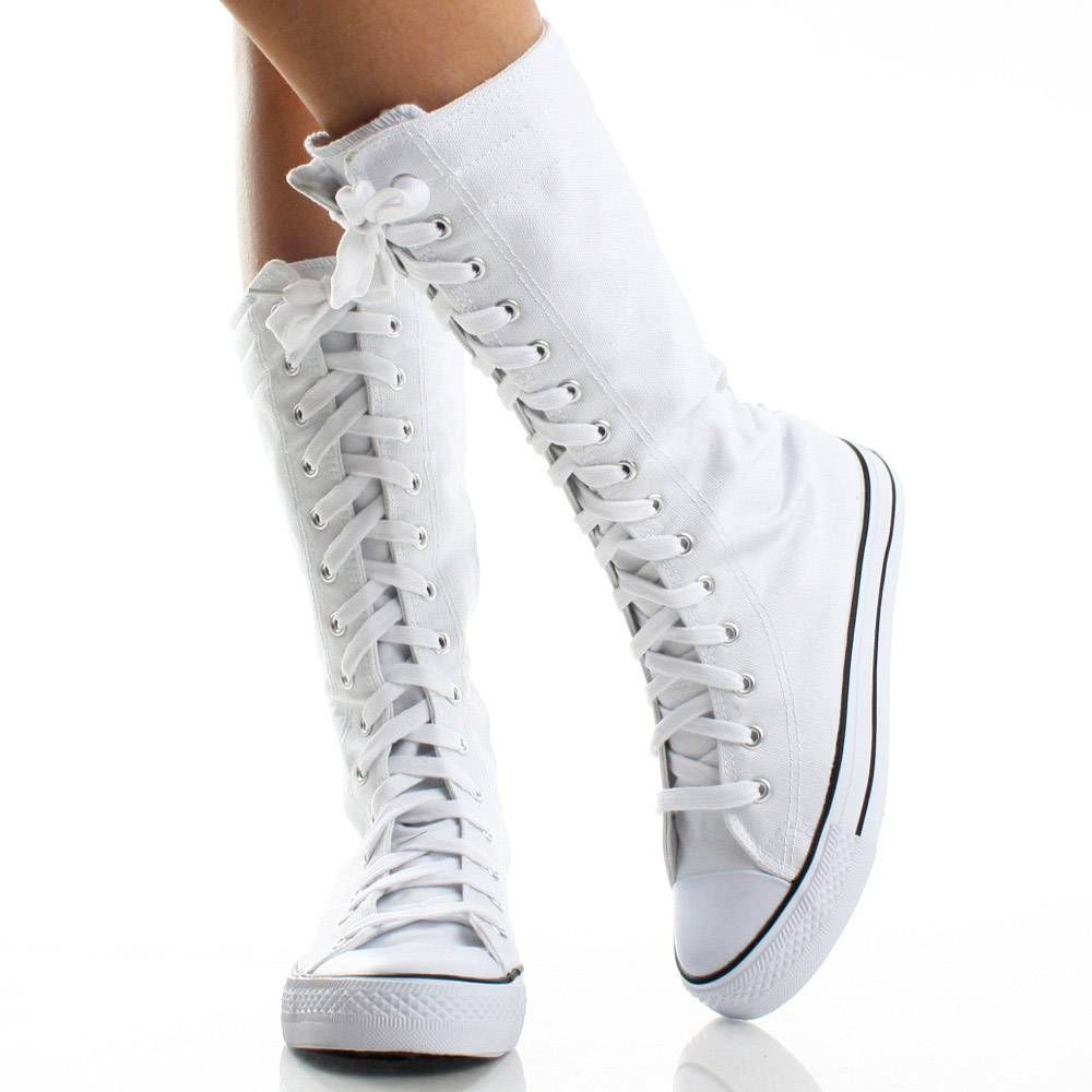 1000  images about White Boots on Pinterest | Canvas sneakers