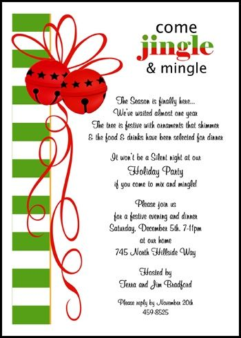 Jingle Mingle Party Invitations For Christmas christmas - birthday party invitation informal letter