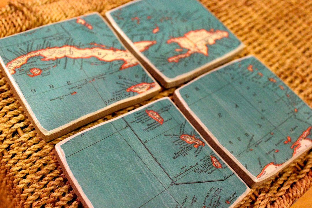 Vintage Atlas Map Coasters - Antilles Dominican Republic Jamaica Cuba Islands Set of 4 #cubaisland