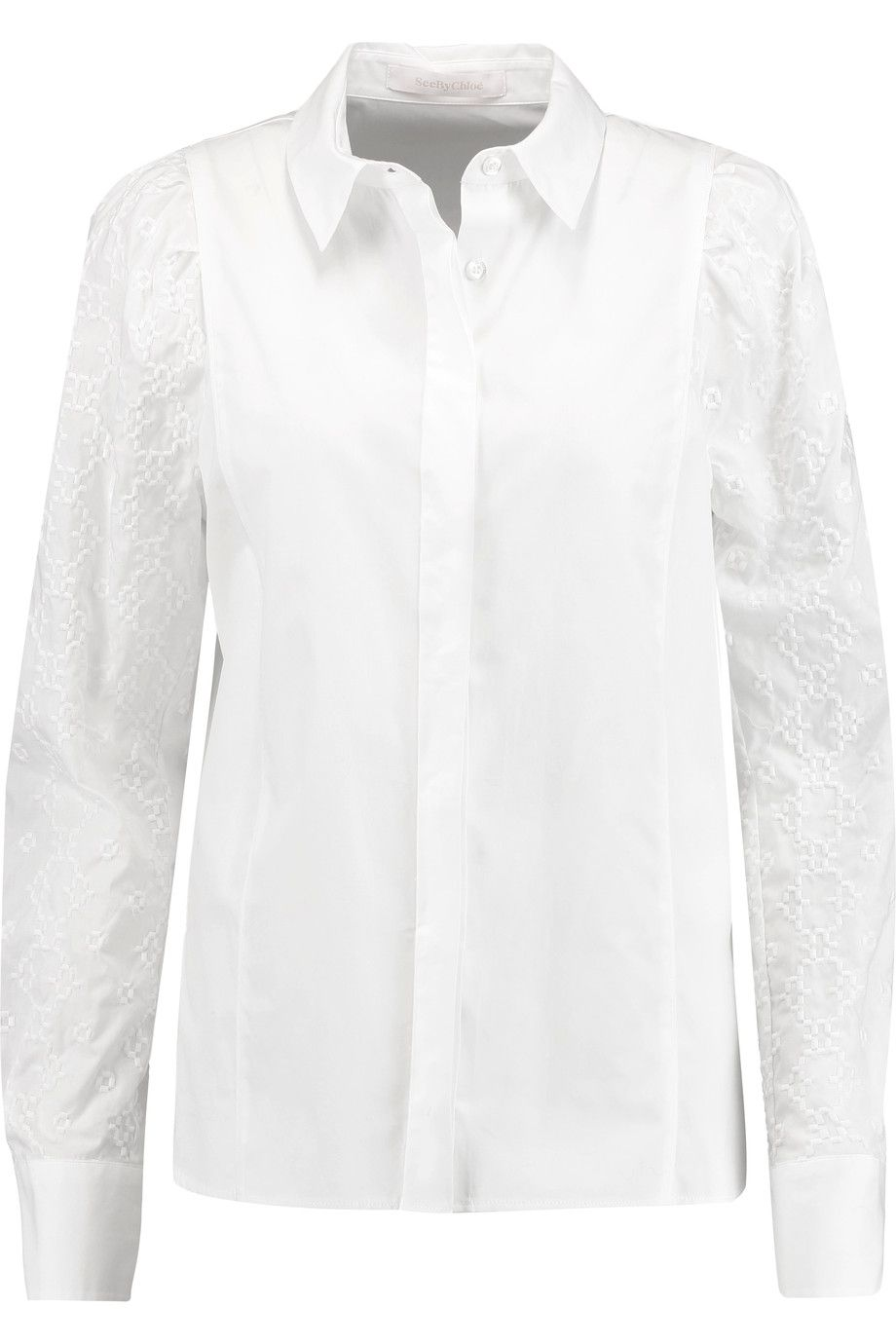 Ruched Cotton-poplin Blouse - White Chloé Clearance Wiki Cheap Get To Buy Outlet 2018 Newest KGjBu7Ib