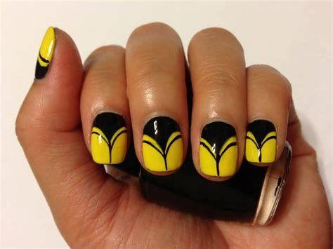 99 elegant black nail art designs  yellow nails yellow