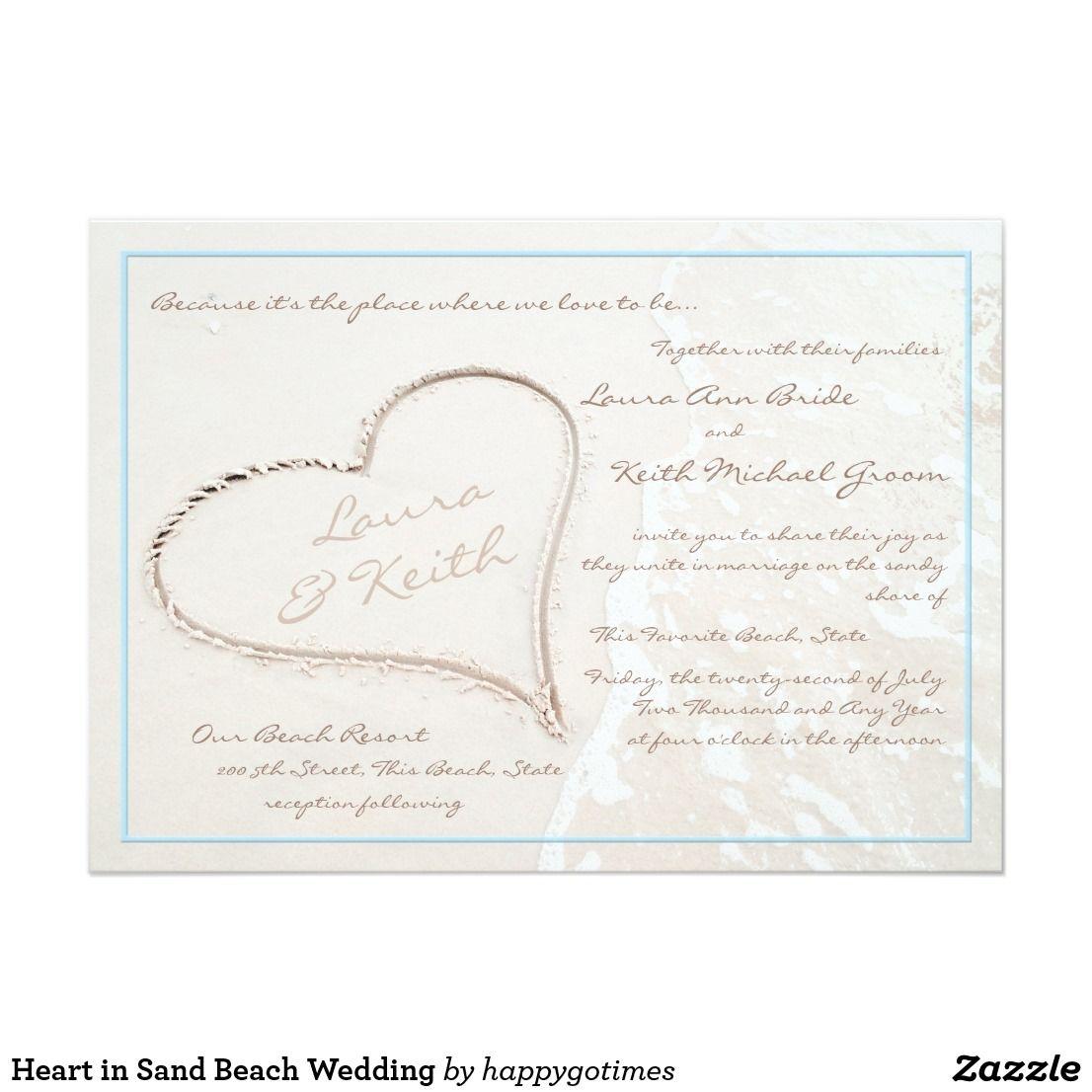 Heart in Sand Beach Wedding Card | Beach Wedding Invitations ...