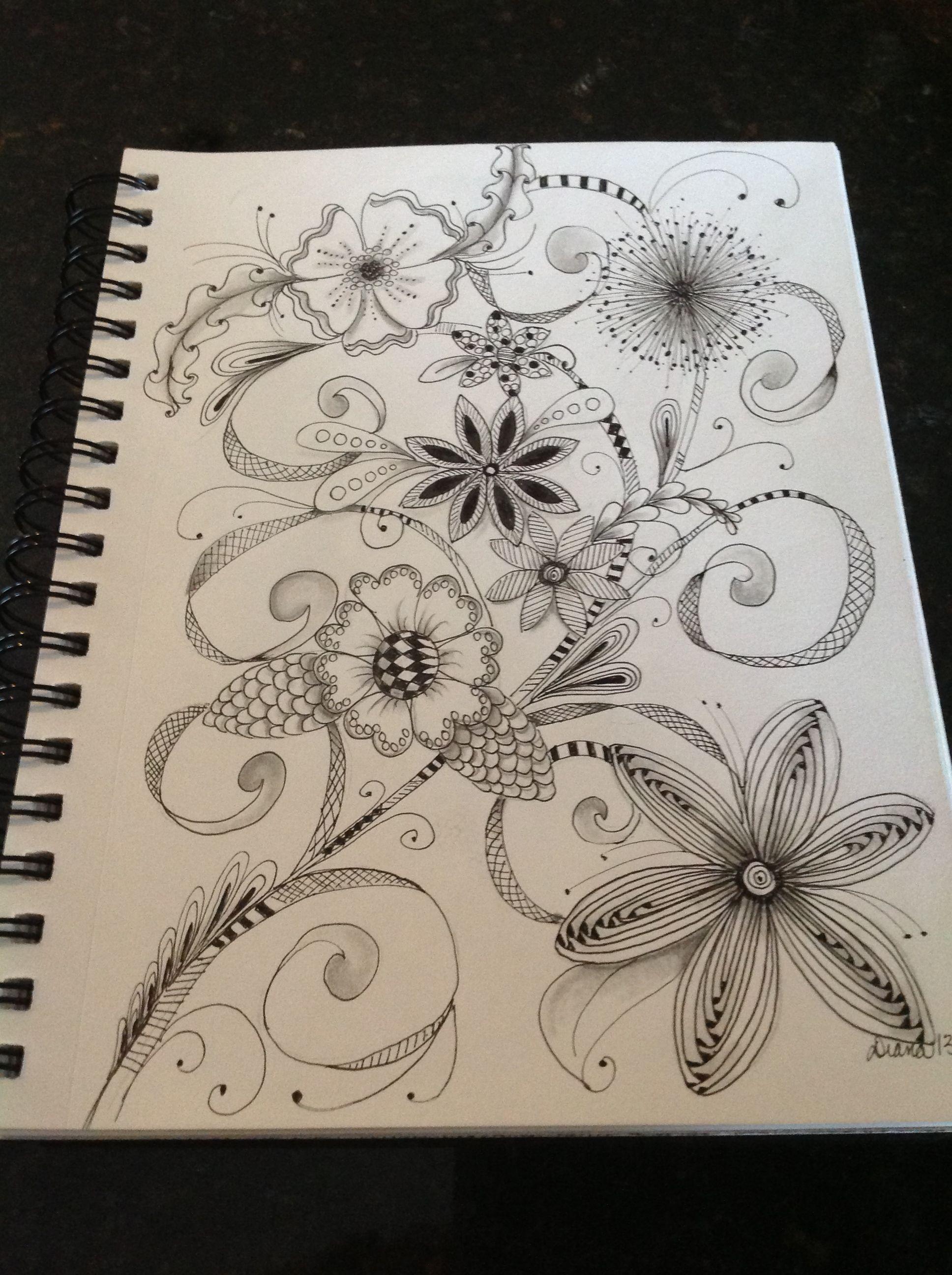 Zentangle Flowers by Diana Turner Zentangle by ME Pinterest